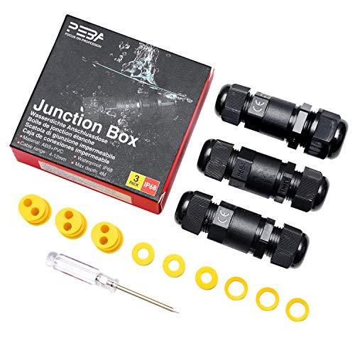 Kabelverbinder Wasserdicht IP68 3-Wege Verbindungsbox Verbindungsmuffe 4-polig für Ø2-5mm und Ø4-12mm Kabeldurchmesser 3er-Pack schwarz