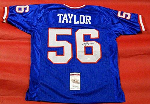 Lawrence Taylor Autographed New York Giants Blue Jersey Lt Jsa Last One - Autographed NFL Jerseys