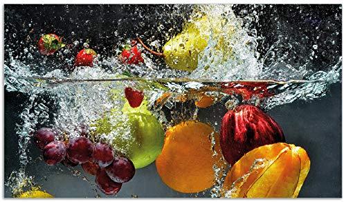 Wallario Herdabdeckplatte aus Glas, 1-teilig, 90x52cm, für Ceran- und Induktionskochfelder, Früchte im und unter Wasser - Splashing Fruits