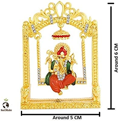 Ganesh Ji Jhula, Colorful God Figure for Car Dashboard, Home, Office Decorative or for Home, Office Temple, 100 and Very Rare by Make in India-SoilMade-Pick Use