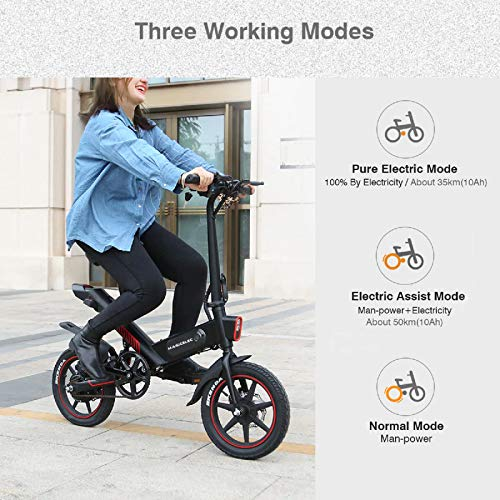 Bici Elettrica,Bicicletta Elettrica Pieghevole,Illuminazione a LED,Batteria da 10Ah,Pneumatici da 14 Pollici,3 modalità di Lavoro,Lunga Distanza di 60 km,Ammortizzatore Centrale,Impermeabilità IP54
