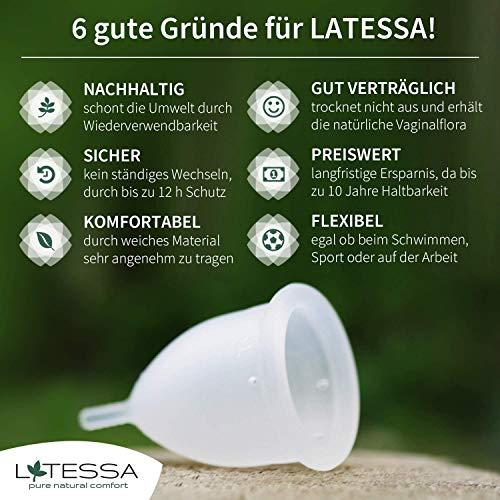 LATESSA Menstruationstasse – Made in Germany – geruchlos – farbstofffrei – medizinisches Silikon – Alternative zu Tampons und Binden – Menstruationstassen als nachhaltige Monatshygiene – Größe 1 – klein - 3