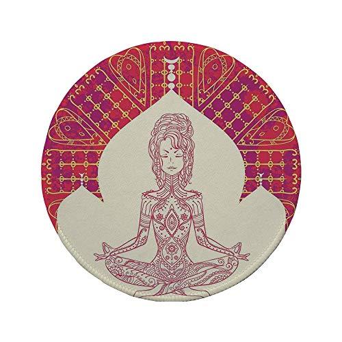 Rutschfreies Gummi-rundes Mauspad Chakra von der Eastren-Gottheit inspirierte Dame die Yoga-Motiv auf böhmischem Grunge-Look-Hintergrunddruck-Dekorativ Rotbeige 7.9