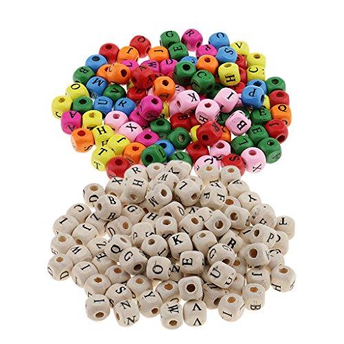 dailymall 200 Piezas de Abalorios de Cubo de Letras de Alfabeto de Madera Blanca Colorida para Niños Manualidades de Bricolaje Joyería de Abalorios de 10 Mm