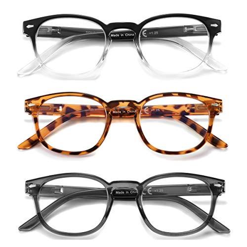 3 Pack Blue Light Blocking Reading Glasses,Trendy Spring...