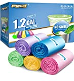 Small Trash Bags FORID 1.2 Gallon Garbage Bags Tiny Wastebasket Bin Liners 150 Counts in 5 Rolls 5 Color for Bathroom Bedroom Office Car Garbage Can 5 Liters…