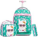 Alpaca Rolling Backpack for Girls with Wheels Travel Trip Luggage Big Kids School Bag