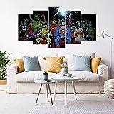 VKEXVDR 5 Paneles Pintura de la Lona Mural Superhéroes Spider-Man Hulk Arte Fotos Paisaje Imprimir Decoración Moderna del Ministerio del Interior Sin Marco 200 * 100cm