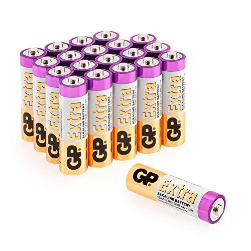 GP Extra Alkaline Batterien AA Mignon 20 Stück Vorrats-Pack, ideal für die Stromversorgung von Geräten des täglichen Bedarfs (Briefkasten-geeignete Verpackung)