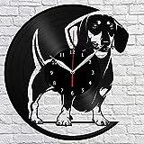 Reloj de Pared de Vinilo para Perro Dachshund, Registro LP, decoración del hogar, Arte Hecho a Mano, Regalo de Personalidad, Reloj de Pared Moderno, Regalo de cumpleaños de Pokemon