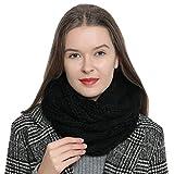 Bufanda de invierno tipo cuello suave y cálida para mujer con diseño de punto - Negro