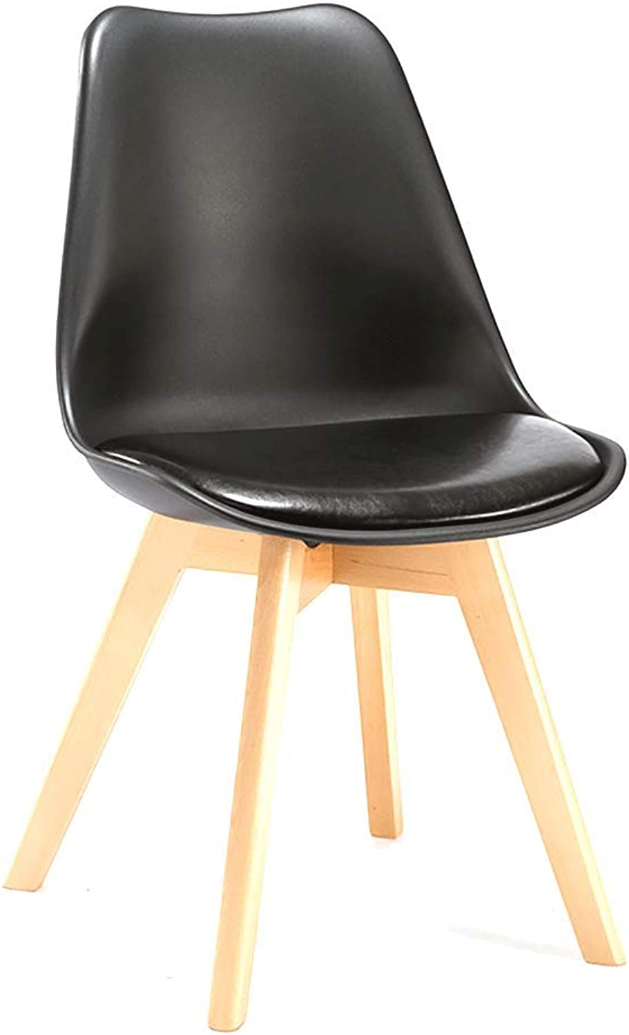 Teng Peng Chair - - European Creative Retro Dining Chair, Natural Wooden Leg Chair Living Room, Study, Dining Room Comfortable seat (Size 83X48X48 cm) Household Products (color   Black)