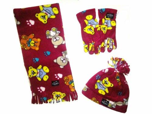 MaxxGoods WINTER fleece set 4-delig voor kinderen - bestaande uit 1 sjaal, 1 muts en 1 paar handschoenen - donkerrood