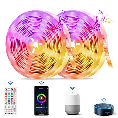 Smart LED Lights for Bedroom 32.8ft, TASMOR WiFi LED Light Strips with Remote App Control Color Chaning LED Strip...