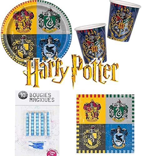 Kit Anniversaire Harry Potter 52 pièces ( 16 Assiettes, 16 gobelets, 20 Serviettes + 10 Bougies Magiques offertes) décoration fête 16 Enfants