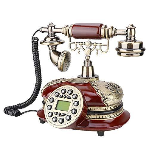 ASHATA Retro Telefon, Vintage Telephone Nostalgietelefon FSK/DTMF Anrufer-ID Schnurgebundenes Telefon,LCD Display Festnetztelefon Desktop Antikes Telefon für Geschenk Hause Wohnzimmer usw.
