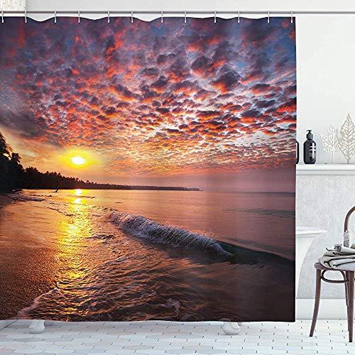 ASDAH Landscape douchegordijn foto van zonsopgang met bewolkte lucht aan zee Dramatische Dawn Island Forest doek stof badkamer Decor Set met haken oranje Mauve 66 * 72in