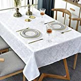 Rectangle Table Cloth Stain Resistant Spillproof Wrinkle Resistant Oblong Tablecloth Polyester Fabric Damask Table Cover for Decorative Holiday Dinner Use(60x84 Inch,White)
