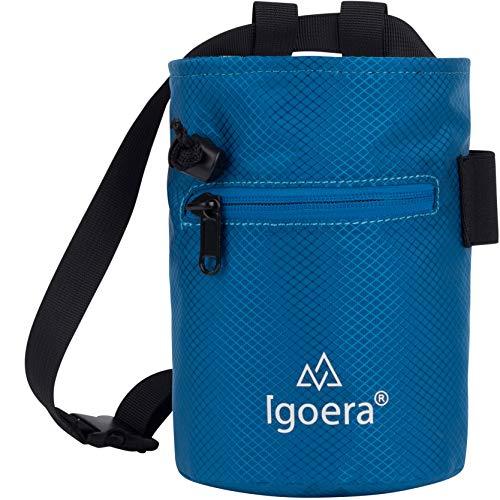 Igoera Chalkbag zum Klettern und Bouldern   robust und staubdicht   inkl. verstellbarem Befestigungsgurt   Kreidebeutel für besseren Grip und mehr Sicherheit (Blau)