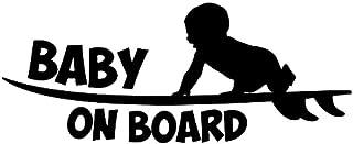 Wwwx 2pcs Baby On Board Vinyl Sticker Cute Surfboard Surfer Car Sticker Reflective Silver Car Styling Decals Black 18.8CM*...