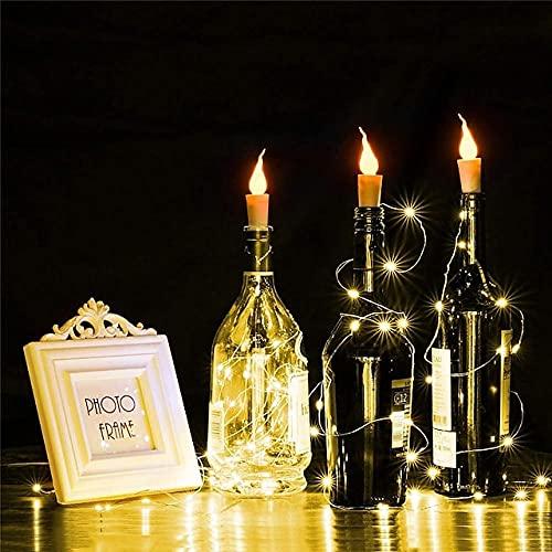 Powzz ornament Luces de Botella de Vino con Corcho 20 Paquetes 6 6 pies Blanco cálido Funciona con Pilas 20 LED Luces de Cadena de Llama de Vela para Fiesta de Navidad Halloween-Warm_White_20_PCS_2m