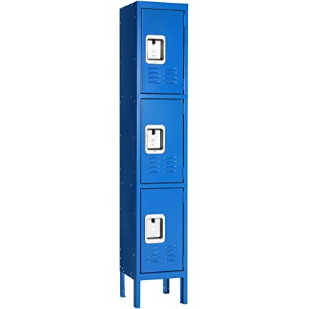Gym Garage or Lockers for Employees Five Tier Box Locker 12-Inch Wide 5-Feet High 12-Inch Deep Unassembled Metal Locker 15 Doors with Louvers 12W x 12D x 66H Perfect for School Office