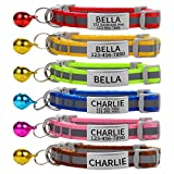 Custom Breakaway Cat Collars with Bell - Engraved Stainless Steel No Noise Slide-On Identification Tags On Collar - Up to 3 Lines of Personalized Text (Reflection)