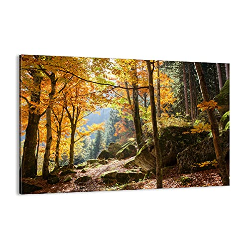 Cuadro sobre lienzo - Impresión de Imagen - Otoño montaña bosque naturaleza - Imagen Impresión - Cuadros Decoracion - Impresión en lienzo - Cuadros Modernos - Lienzo Decorativo - (AB) 2713