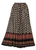 AmeriMark Border Print Crinkle Skirt Black Multi XL