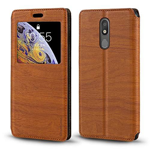 Capa para LG K40, capa de couro de grão de madeira com porta-cartão e janela, capa flip magnética para LG K12 Prime