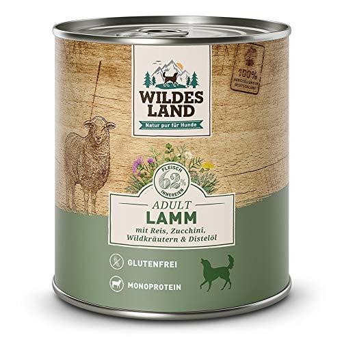Wildes Land | Nassfutter für Hunde | Nr. 1 Lamm | 12 x 800 g | mit Reis, Zucchini, Wildkräutern & Distelöl | Glutenfrei | Extra viel Fleisch | Beste Akzeptanz und Verträglichkeit