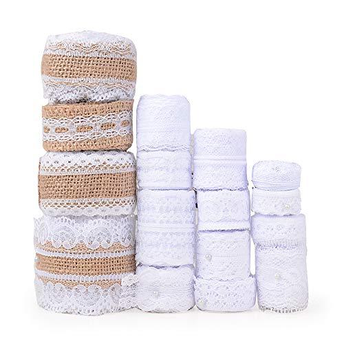 44Metros 16 Rollos Cintas Encaje Blanco Puntillas Cintas Arpillera Natural Yute Boda Decoración Manualidades Bricolaje DIY Costura