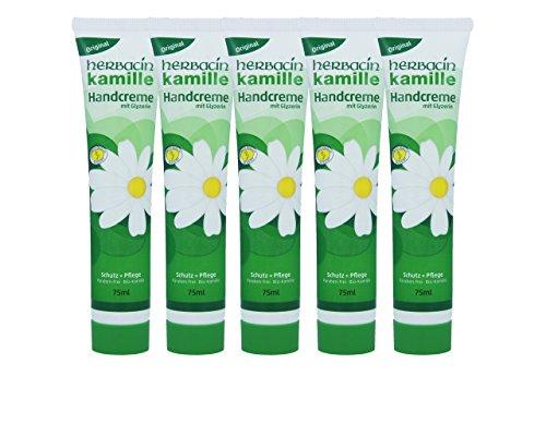 wuta kamille 82141 Herbacin Handcreme + Glyzerin Tube 75 ml, 5er-Pack (5 x 75 ml)