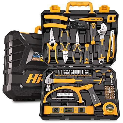 Hi-Spec 82 Piece Home & Garage Tool Kit Set. Full Set of Complete Repair & Maintenance Hand Tools for The Household, Office, Workplace & Workshop. All in a Storage Case