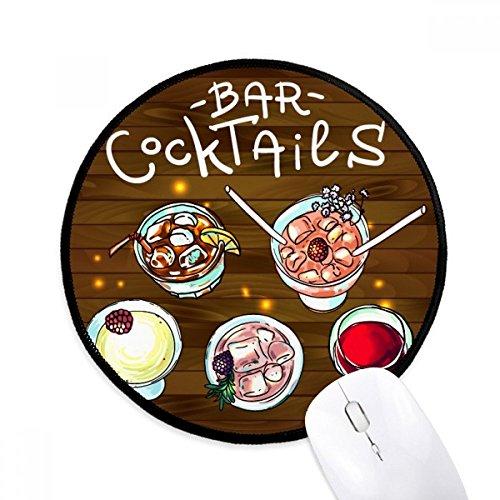 DIYthinker Bar Cócteles Cerveza Vino Tinto Ronda antideslizante tapetes de ratón Negro Titched Bordes Juego Oficina regalo