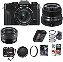 $1448 Get Fujifilm X-T30 Mirrorless Camera with XC 15-45mm f/3.5-5.6 OIS PZ Lens and XF 23mm (35mm) F/2R WR Lens, Black - Bundle with 32GB SDHC Card, 52mm Filter Kit, 43mm UV Filter, Memory Wallet, Software