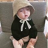日よけ帽 夏の麦わら帽子レースストラップかぎ針編みの子供たちの折りたたみ式サンキャップレースビーチサン屋外の帽子 (Color : 0262khaki, Size : Baby48CM)
