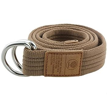 moonsix Canvas Web Belts for Men Military Style D-ring Buckle Men s Belt Khaki