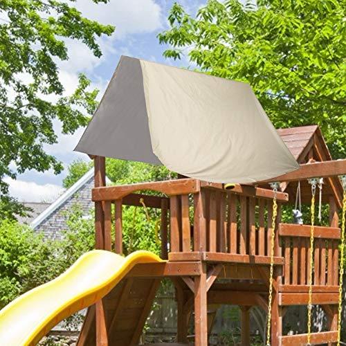 Oumefar Toldo de Techo 190t Poliéster Tafetán Parasol de Tela Recubierto de Plata Impermeable al Aire Libre para Patio, jardín, Escuela 100% Nuevo(Beige)