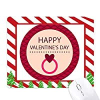 ピンクのラウンドの幸せなバレンタインデー ゴムクリスマスキャンディマウスパッド