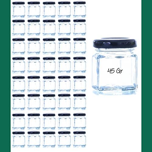 Tarro cristal Frasco cristal 45 gr Hexagonal, frasco Mermelada, Tarro miel, frascos Cosmética frascos Pequeños Frascos con Tapa Hermética (80 Und)
