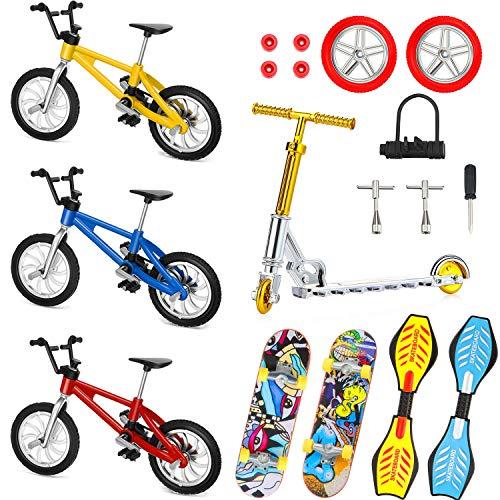 Sumind Juego de 18 Mini Juguetes de Dedos Patinetas de Dedo Scooter Bicicletas de Dedo Favores de Partido de Movimiento de Yema de Dedo de Tablero Oscilante Pequeño Ruedas y Herramientas de Repuesto