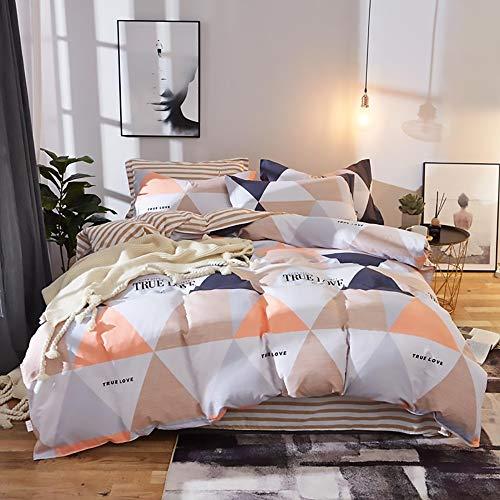 LCSD Funda de edredón multitamaño, diseño geométrico simple de alta densidad, 100% algodón, 4 piezas, funda de edredón de tres piezas (color: naranja, tamaño: 180 x 220 cm)