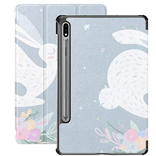 Funda Galaxy Tablet S7 Plus de 12,4 Pulgadas 2020 con Soporte para bolígrafo S, Bonito Conejo Saltando sobre Flores delicadas Funda Protectora Tipo Folio con Soporte Delgado para Samsung