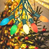 Romasaty C7 LED Christmas Lights(25FT) 5 Multi-Color Outdoor&Indoor Lights for Holiday Party Wedding,25 Ceramic LED Bulb C7 Light(Plus 2 Extra Bulbs)-Green Wire