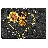 TOADDMOS Fashion Sunflower and Bees Sunflower Seeds Home Décor Doormat for Indoor/Outdoor Bathroom/Kitchen/Bedroom/Entryway Floor Mats,Non-Slip Door Mat