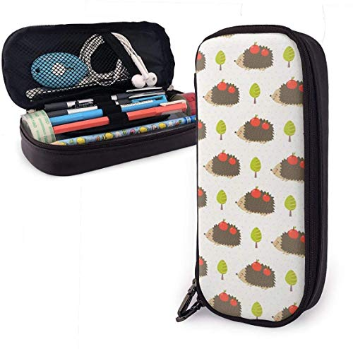 Lindo estuche de lápices de cuero de PU de erizo con doble cremallera, bolsa de bolígrafo de caja de papelería de gran capacidad para oficina escolar