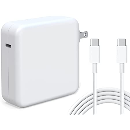 Tissyee 96W USB C Power Adapter, Compatible with MacBook Pro Charger 13 15 16 inch 2020 2019 2018 Works with USB C 96W 87W PD Power Charger, Included USB-C to USB-C Charge Cable (6.6ft/2m)