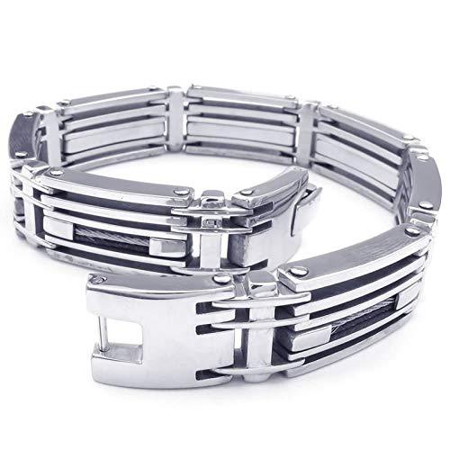 KnBob Charm Bracelet Silver Mechanic Bracelet Stainless Steel for Men