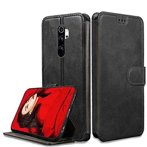 LeYi Cover Xiaomi Redmi Note 8 PRO con HD Pellicola Protettiva,Custodia Flip Libro Silicone TPU Bumper Portafoglio Fondina Morbida Scocca Antiurto Case per Telefono Redmi Note 8 PRO,Nero